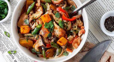 Curry de cogumelos e legumes
