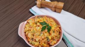 Salada de batata com bacon